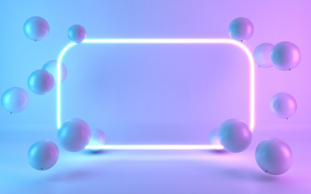 Neon frame bord met ballon. 3d-rendering Premium Foto
