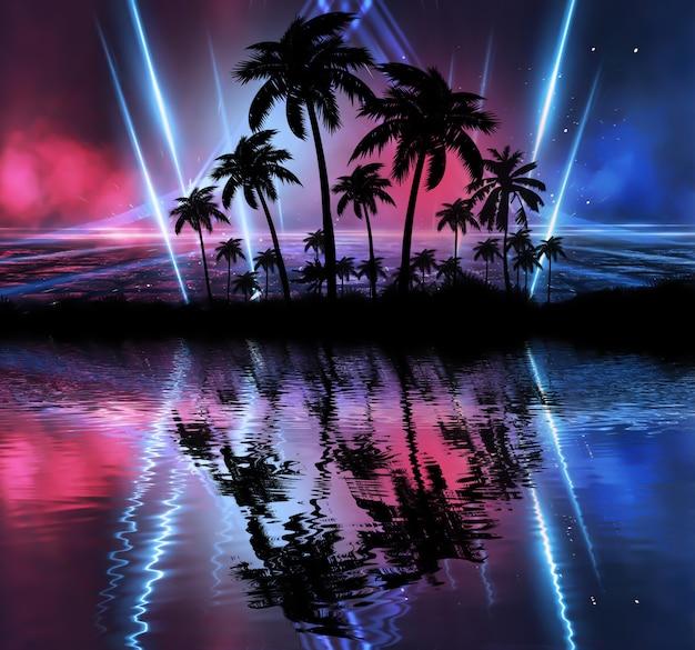 Neon palmboom, tropische bladeren. Premium Foto