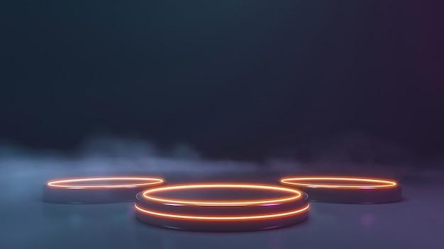 Neon podium met rookmuur. 3d-weergave Premium Foto