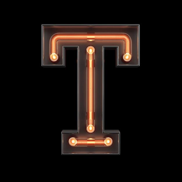 Neonlicht alfabet t Premium Foto