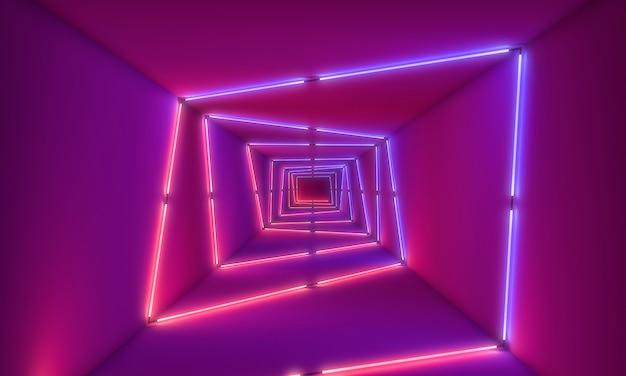 Neonlichten op tunneachtergrond Premium Foto