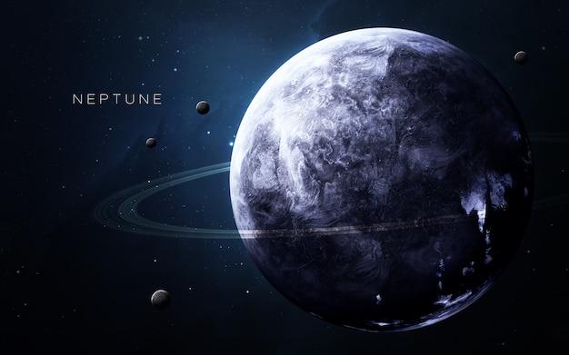 Neptunus in de ruimte, 3d illustratie. . Premium Foto