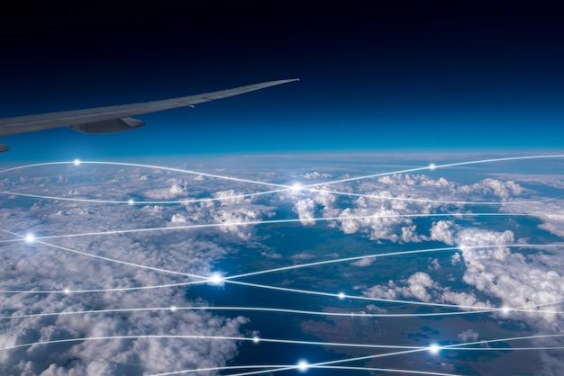 Netwerk & cloud concept in de lucht Premium Foto