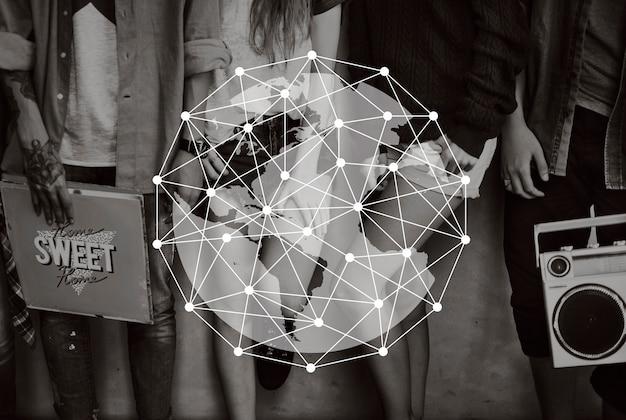 Netwerk verbindt globaal grafisch ontwerp Gratis Foto