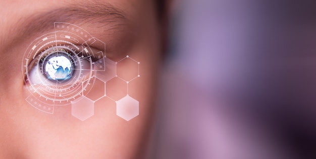 Netwerktechnologie oog en communicatie Premium Foto