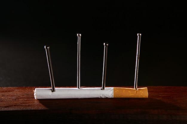 Nicotine tabaksverslaving sigaret concept Premium Foto