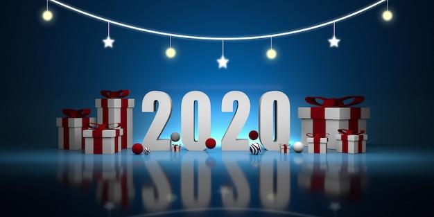 Nieuw jaar 2020. 3d illustratie Premium Foto