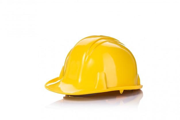 Nieuwe gele constructie veiligheidshelm. Premium Foto