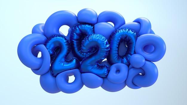 Nieuwe het jaar 3d teruggevende illustratie van 2020. blauwe abstracte vormen met metaalfolie nummers belettering. Premium Foto
