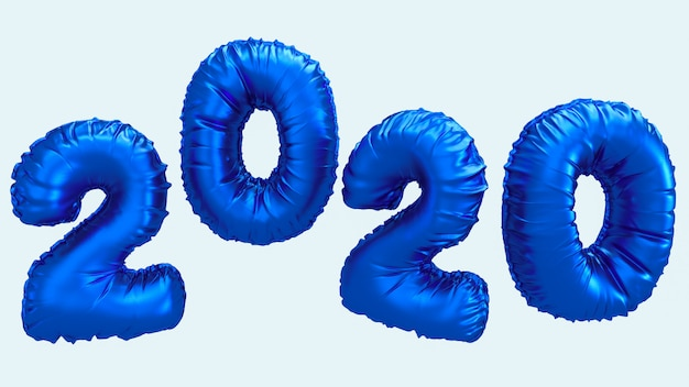 Nieuwe het jaar 3d teruggevende illustratie van 2020. blauwe metaalfolie nummers letters vliegen in de lucht. Premium Foto