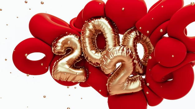 Nieuwe het jaar 3d teruggevende illustratie van 2020. rode en metalen gouden abstracte vormen met folieaantallen het van letters voorzien. Premium Foto