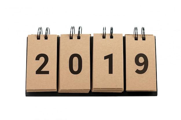 Nieuwjaar 2019 geïsoleerd op witte achtergrond. Premium Foto
