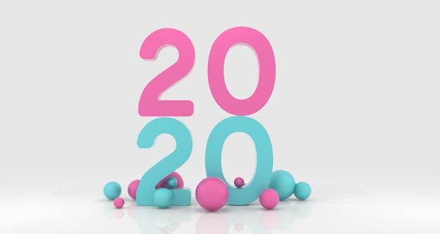 Nieuwjaar 2020 3d-rendering Premium Foto