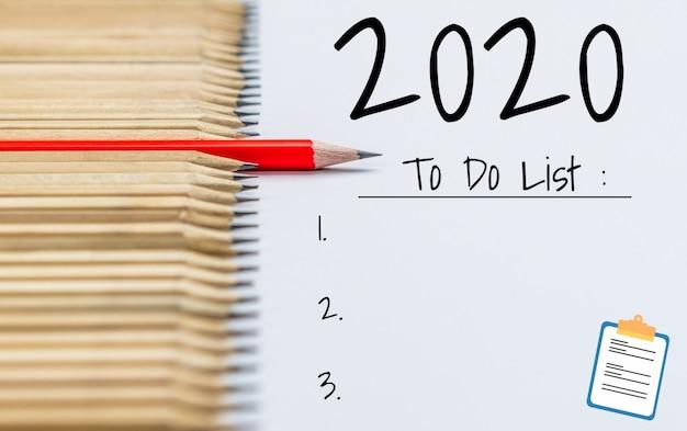 Nieuwjaars resolutie doellijst 2020 doelstelling Premium Foto