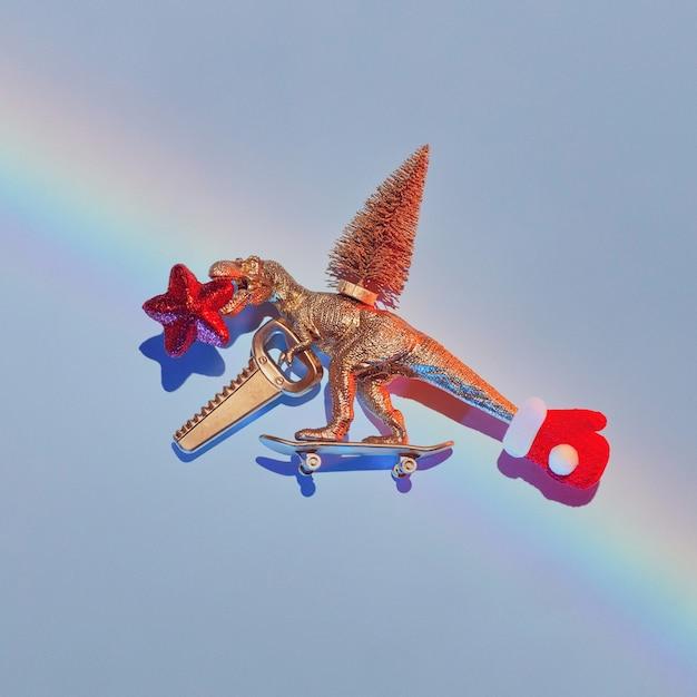 Nieuwjaarsverhaal van hoe een gouden dinosaurus een kerstboom stal Premium Foto