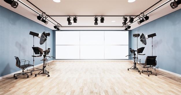Nieuws studio blue room design achtergrond voor tv-shows Premium Foto