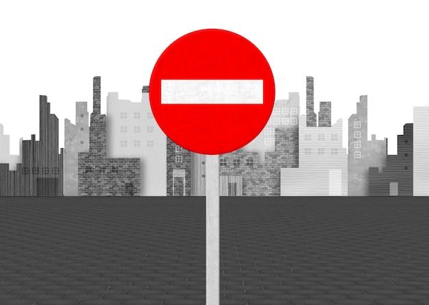 No entry zucht op de achtergrond van de stad Gratis Foto