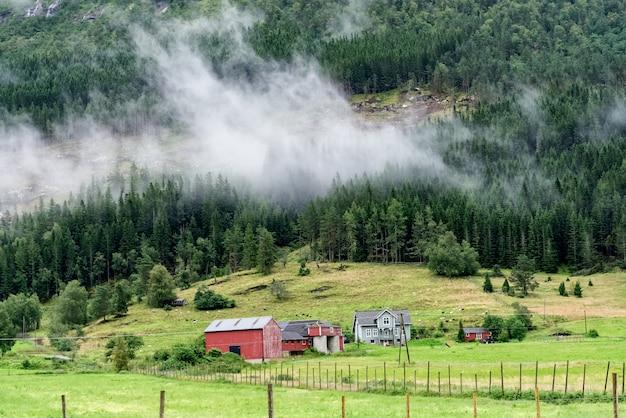 Noors landschap met rood geschilderd muurhuis Premium Foto