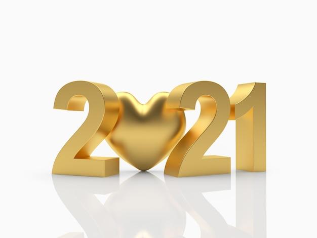 Nummer 2021 en gouden hart pictogram Premium Foto
