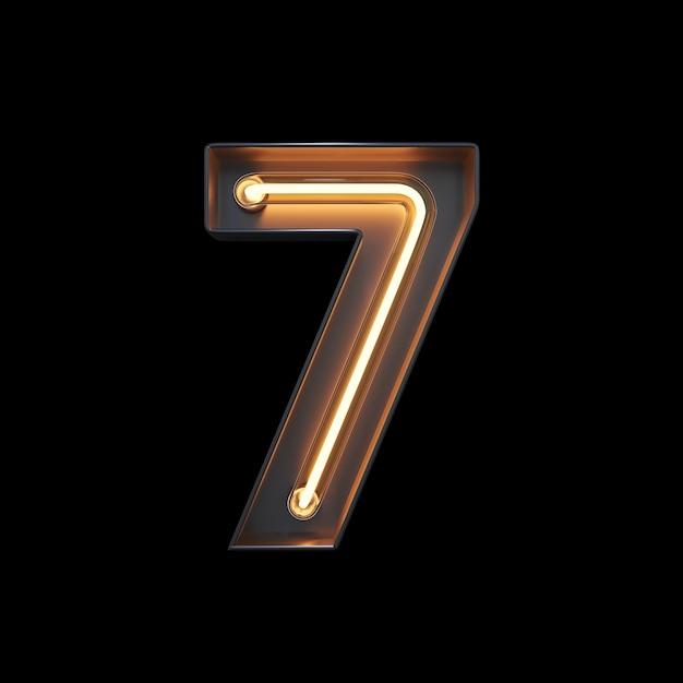 Nummer 7, alfabet gemaakt van neonlicht Premium Foto