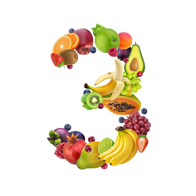 Nummer drie gemaakt van verschillende soorten fruit en bessen Premium Foto