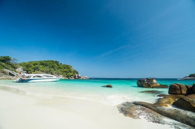 Oceaan golven, prachtig tropisch strand en rotsachtige kustlijn en prachtig bos. nga khin nyo gyee island myanmar. tropische zeeën en eilanden in het zuiden van myanmar Premium Foto