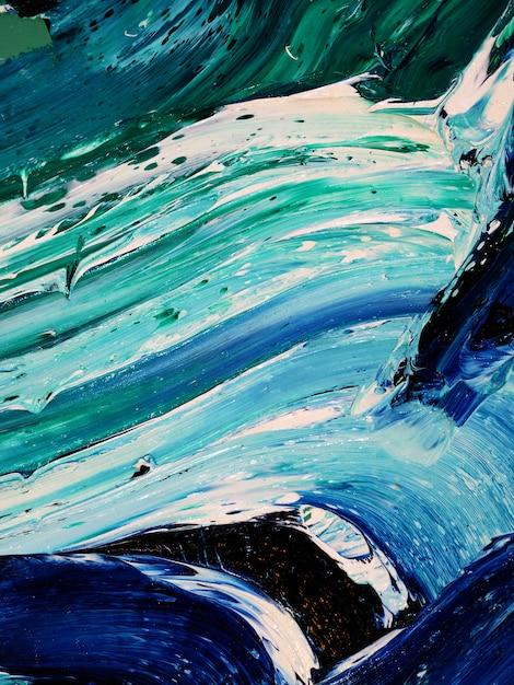 Oceaangolven. motie die kleurrijke textuur schilderen abstracte achtergrond heldere kleuren artistieke plonsen. Premium Foto