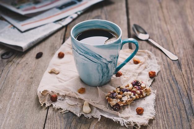 Ochtendontbijt met muesli Premium Foto