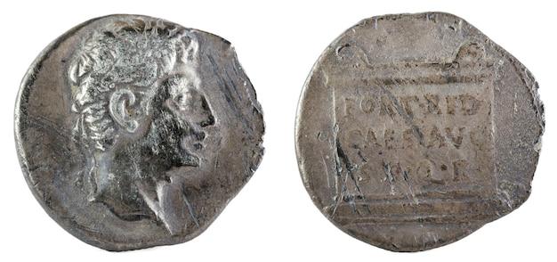 Octavianus augustus. romeinse republiek munt. Premium Foto