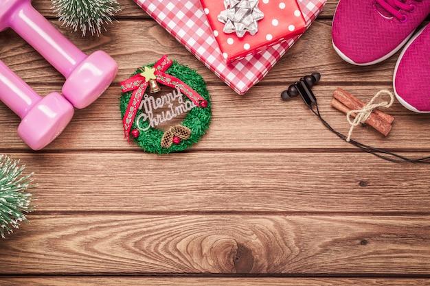 Oefening, fitness en trainen op de achtergrond van de kersttijd Premium Foto
