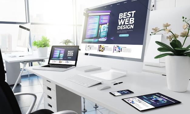 Office-responsieve apparaten ontwerpen website 3d-rendering Premium Foto