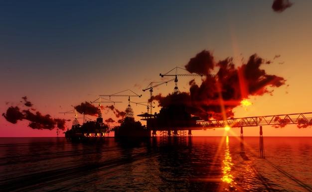 Offshore-olie en uitrustingsplatform in zonsondergangtijd. bouw van productieproces in de se Premium Foto