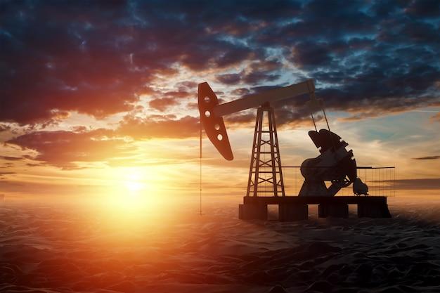 Oliepomp, olieplatform industriële olieproductie op de muur van een prachtige zonsondergang. technologieconcept, fossiele energiebronnen, koolwaterstoffen. kopieer ruimte voor gemengde media. Premium Foto