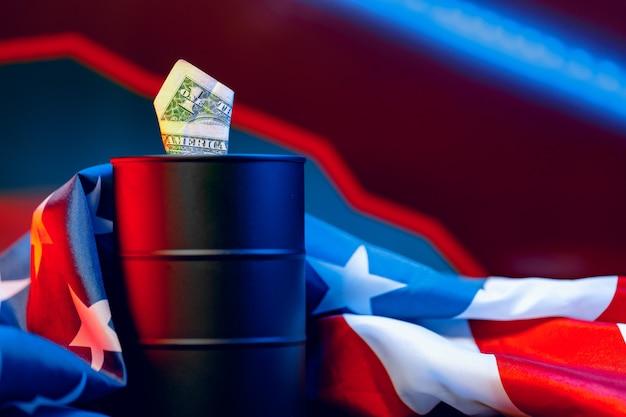Olieprijzen vallen concept. olievat tegen daling grafiek Premium Foto