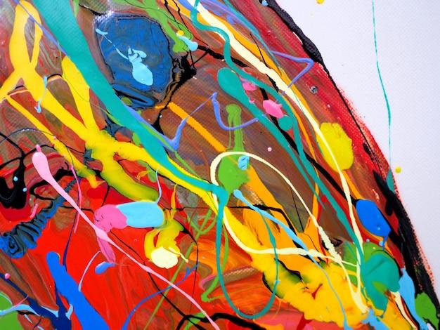 Olieverf kleurrijke borstel beroerte splash drop zoete kleuren abstracte achtergrond en textuur. Premium Foto