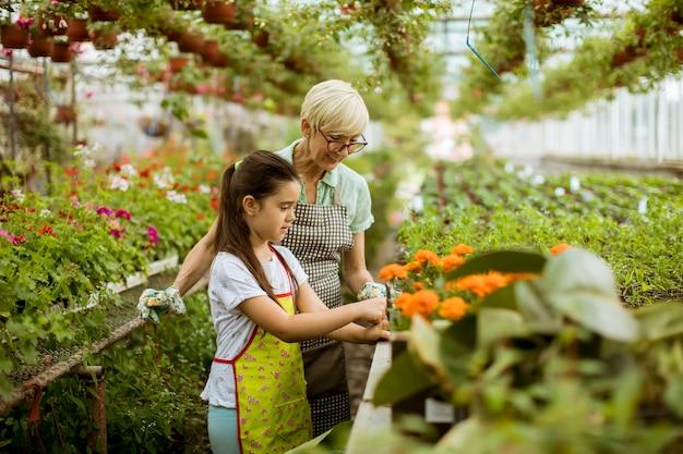 Oma en haar kleinkind genieten in de tuin met bloemen Premium Foto