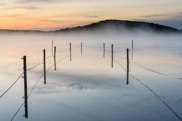 Omheinde paddock op een mistig meer tijdens zonsondergang in radasjon, zweden Gratis Foto