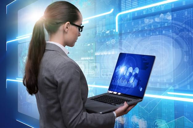 Onderneemster in online voorraad handel bedrijfsconcept Premium Foto