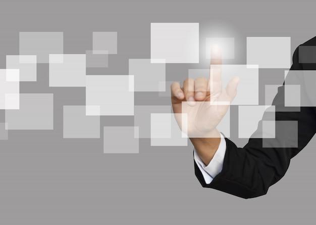Onderneemster met leeg pictogram van sociale netwerkstructuur. Premium Foto