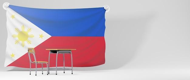 Onderwijs concept. 3d bureau en de vlag van filipijnen op witte achtergrond. Premium Foto
