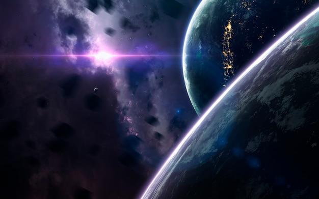 Ongelooflijk mooie planeten, melkwegstelsels, donkere en koude schoonheid van een eindeloos universum Premium Foto
