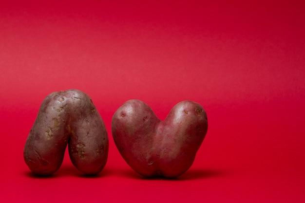 Ongewoon gevormde groenten. twee lelijke hartvormige aardappelen op een rode achtergrond. kopieer ruimte. Premium Foto
