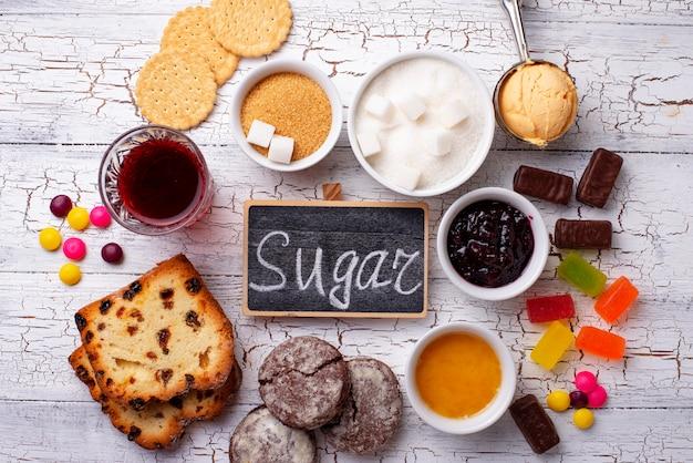 Ongezonde producten met veel suiker Premium Foto