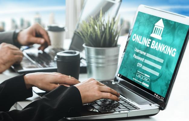 Online bankieren voor digitale geldtechnologie Premium Foto