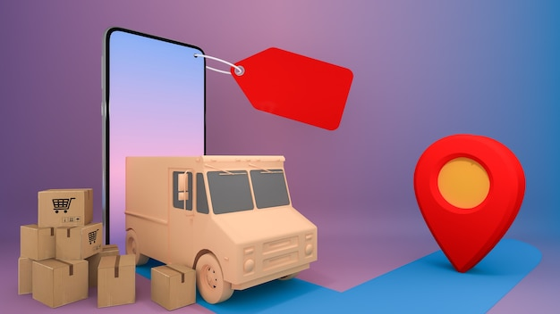 Online besteltransportservice voor mobiele applicaties. online winkelen en leveringsconcept. Premium Foto