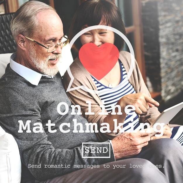 Online matchmaking daterend tekenconcept Gratis Foto