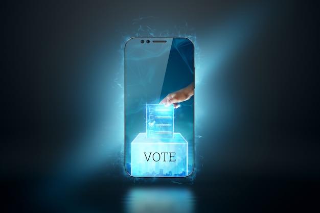 Online stemmen met stemmen en e-stemming voor het concept van elektronische stemtechnologie Premium Foto