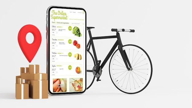 Online supermarkt levering app 3d-rendering Premium Foto