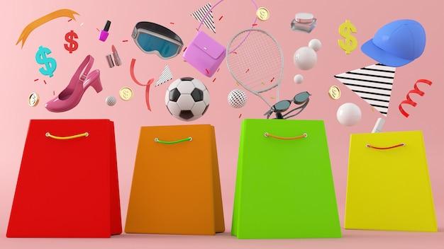 Online winkel, boodschappentassen 3d illustratie 3d-rendering, portemonnee, banken en munten te midden van kleurrijke ballen Premium Foto