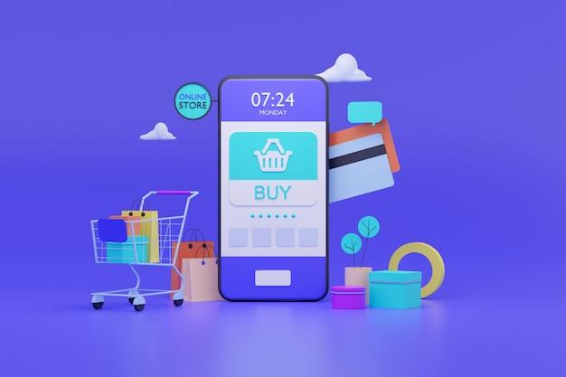 Online winkel op mobiele applicatie Premium Foto